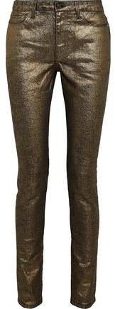 Metallic Coated Mid-rise Skinny Jeans
