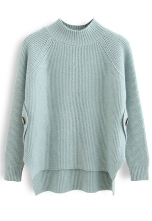 Button Side Hi-Lo Knit Sweater in Mint - Retro, Indie and Unique Fashion