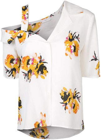 asymmetric floral print shirt