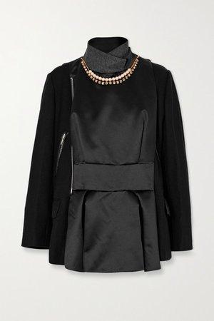 Leather-trimmed Embellished Paneled Wool And Shell Jacket - Black