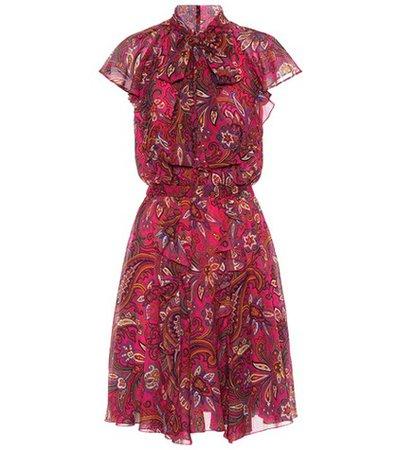 Paisley-printed silk crêpe dress