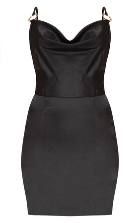 Black Satin Cowl Neck Bodycon Dress | Dresses | PrettyLittleThing