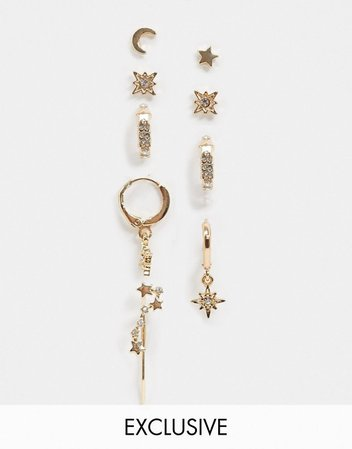 Reclaimed Vintage Inspired moon and stars earring multipack in gold | ASOS