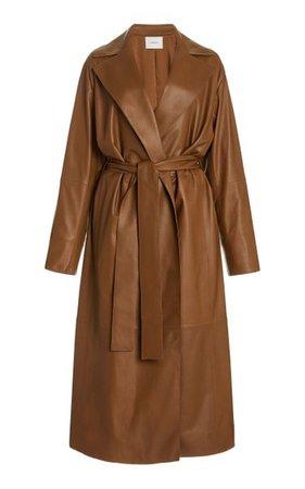 Belted Leather Wrap Coat By Vince   Moda Operandi