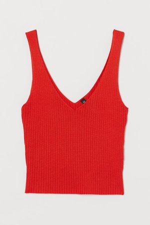 Ribbed Camisole Top - Red - Ladies | H&M US