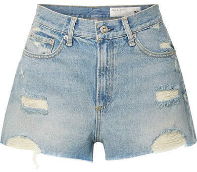 Maya Distressed Denim Shorts - Light denim