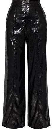 Metallic Velvet Straight-leg Pants