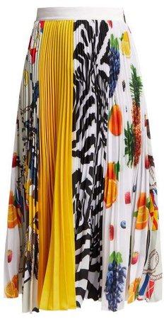 Fruit Print Pleated Crepe Midi Skirt - Womens - Multi