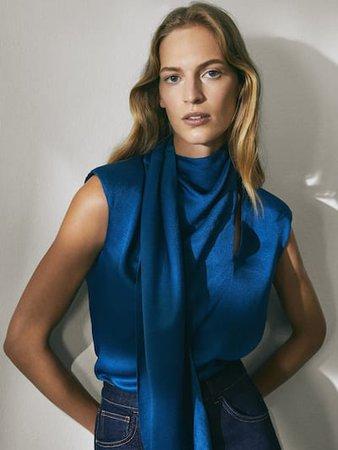 Limited Edition fularlı gömlek - Kadın - Massimo Dutti