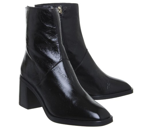 Office Artisan Block Heel Rand Boots Black Leather - Ankle Boots
