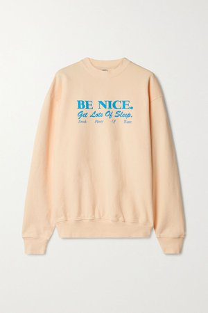 Peach Printed cotton-jersey sweatshirt | Sporty & Rich | NET-A-PORTER
