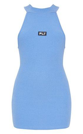 PRETTYLITTLETHING Baby Blue Thick Rib Cross Back Bodycon Dress | PrettyLittleThing USA