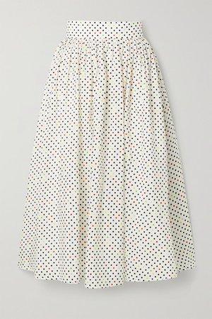 Polka-dot Cotton And Silk-blend Jacquard Midi Skirt - White