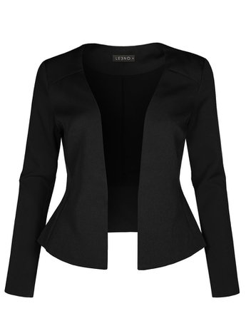 Long Sleeve Fully Lined Collarless Tuxedo Blazer Jacket | LE3NO black