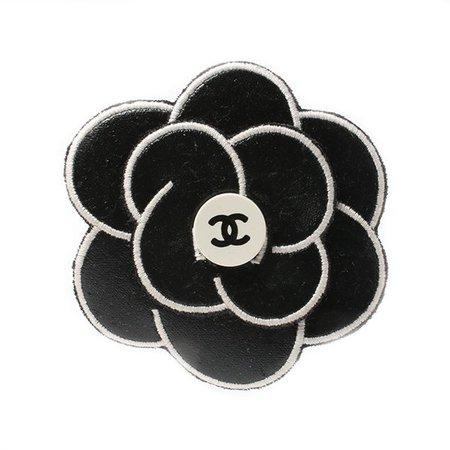 Chanel Mini CC Mark Camellia Brooch Black