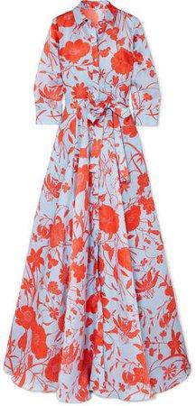 Floral-print Silk-satin Gown - Orange