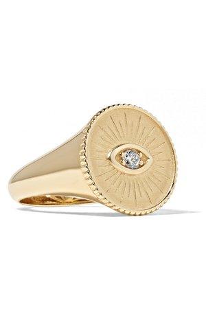 Sydney Evan   14-karat gold diamond signet ring   NET-A-PORTER.COM