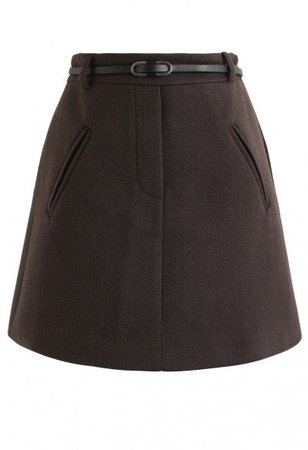 Irregular Button Decorated Wool-Blended Mini Skirt in Caramel - Skirt - BOTTOMS - Retro, Indie and Unique Fashion