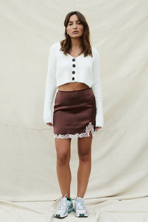UO Lace Insert Brown Satin Mini Skirt | Urban Outfitters UK