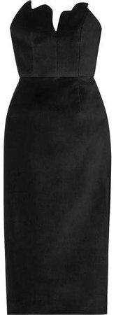 Scalloped Cotton-velvet Midi Dress - Black