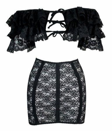 1990's Dolce & Gabbana Sheer Black Lace Off Shoulder Top Skirt | My Haute Wardrobe