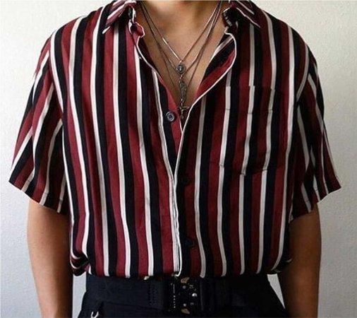 striped satin shirt