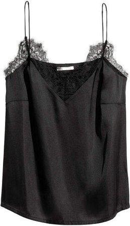 Satin Camisole Top - Black