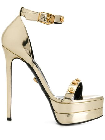 Shop gold Versace Medusa stud sandals with Express Delivery - Farfetch