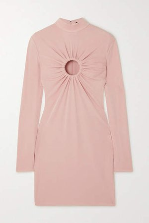 Cutout Stretch-crepe Mini Dress - Pink