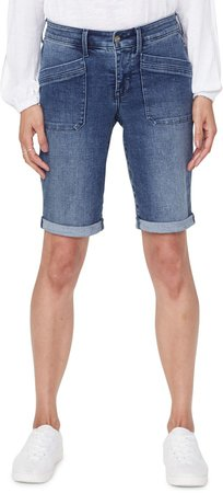 Utility Pocket Rolled Cuff Denim Shorts