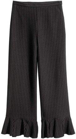 Ankle-length Flounced Pants - Black