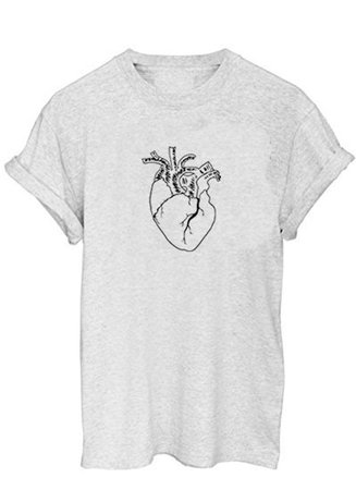 Anatomy Heart T-shirt Cool Casual Tumblr Grunge Tee | Etsy