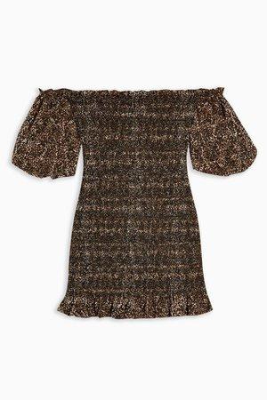 Leopard Print Shirred Bardot Mini Dress   Topshop