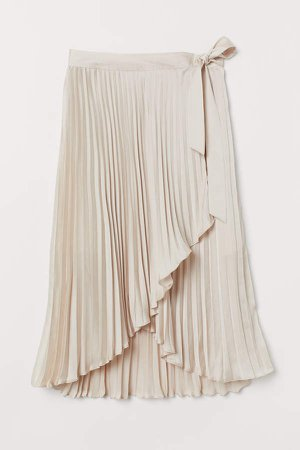 H&M+ Pleated Wrap-front Skirt - Beige
