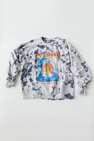 Def Leppard Pyromania Tie-Dye Crew Neck Sweatshirt   Urban Outfitters