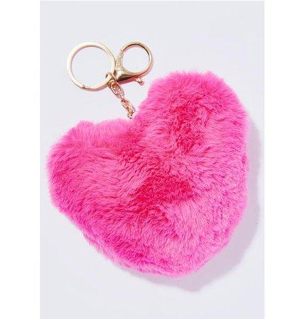 Heart Faux Fur Keychain   Dolls Kill