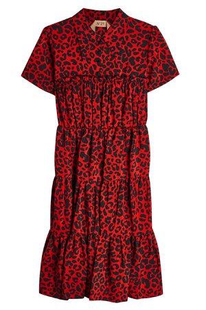 Leopard Print Silk Dress Gr. IT 38