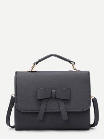 Bow Detail Flap Handbag With Adjustable Strap