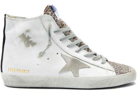 Francy High-top Leather Trainers - White Multi