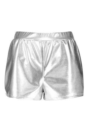 Metallic Runner Shorts | Boohoo silver