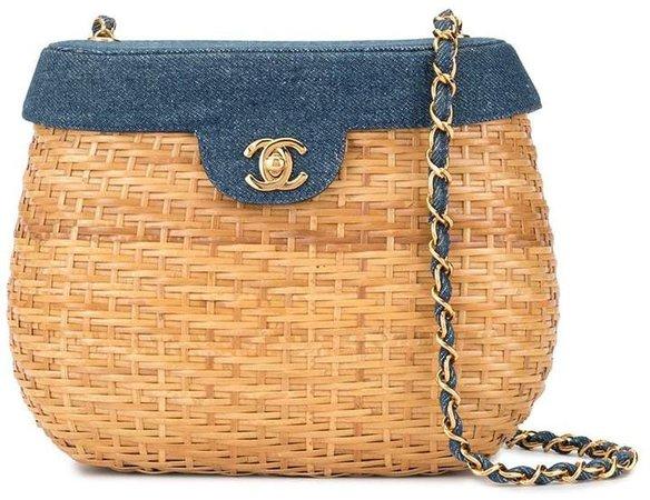 Pre-Owned Chain Basket woven shoulder bag