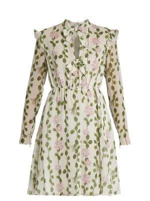 Floral-print long-sleeved silk-chiffon dress | Giambattista Valli