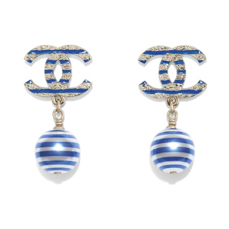 Metal, Glass Pearls & Resin Gold, Pearly White & Blue Earrings   CHANEL