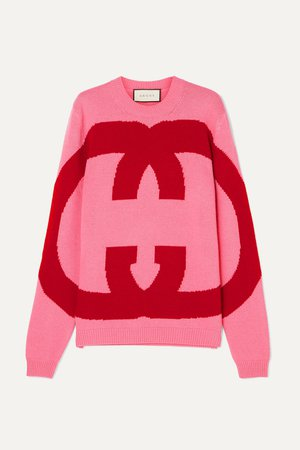 Pink Intarsia wool sweater | Gucci | NET-A-PORTER
