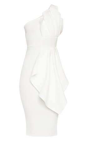 White One Shoulder Pleated Detail Midi Dress | PrettyLittleThing USA