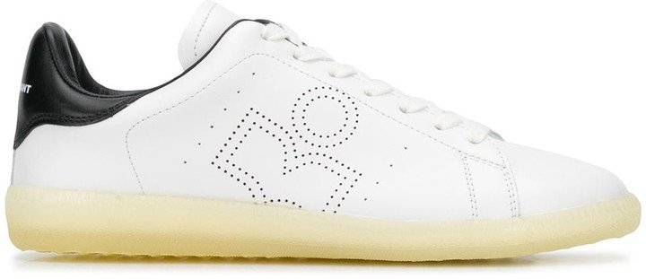 Leather Perforated-Logo Sneakers