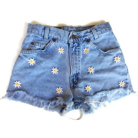 High Waisted Daisy Applique Denim Shorts