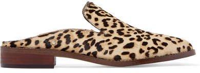 Crystal-embellished Leopard-print Calf Hair Slippers - Leopard print