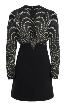 Givenchy Pleated Printed Silk-Crepe Mini Dress