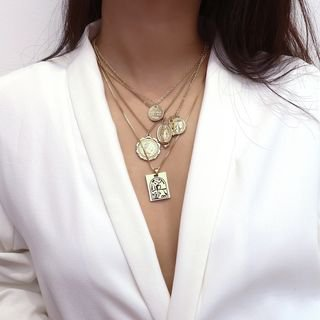 Seirios Alloy Coin Pendant Layered Necklace   YesStyle